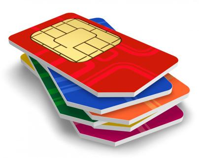 A 3D render of a stack of standard-sized SIM cards.
