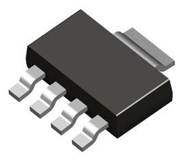 A 3D render of the SOT-223-4 component package. Image from http://www.datasheetdir.com/.
