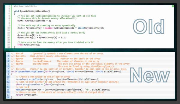 A comparison between the old and new syntax highlighter plugin used on CladLabs.