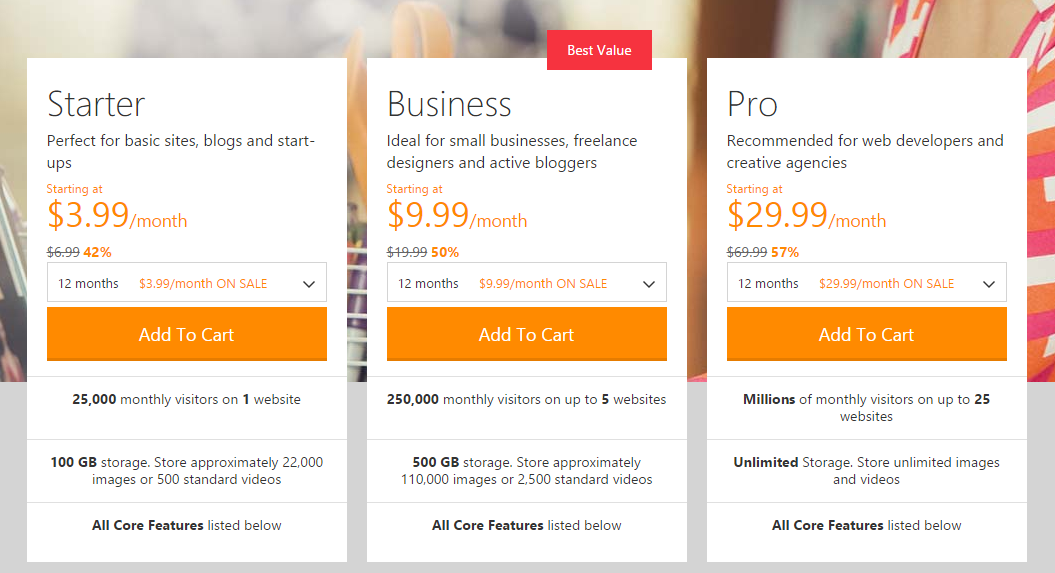 Screenshot of GoDaddy's managed WordPress plans as of 2015-04-03.