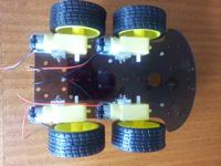 The bottom side of the 4WD Arduino robot.