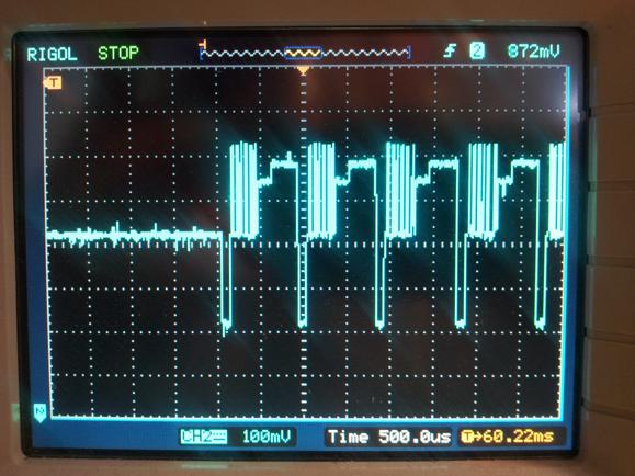 The oscilloscope on the PSoC VDAC component output allows you to inspect code execution. Each different voltage level corresponds to a different section of code. This was taken while running a complex FreeRTOS-based program.